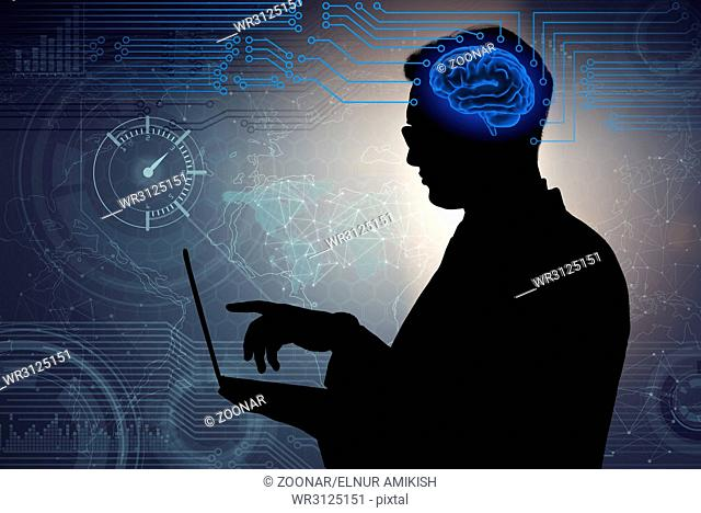 The businessman in artificial intelligence concept