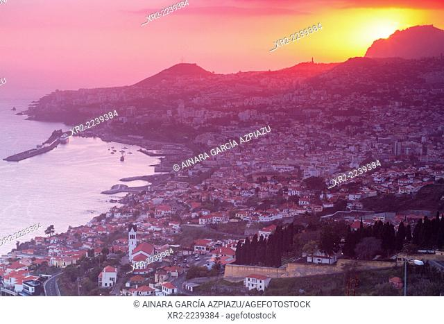 Panoramic view of Funchal at sunset from das Neves viewer, Madeira, Portugal