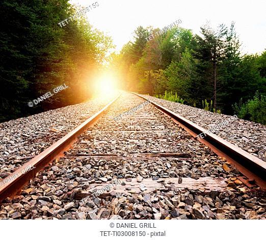 USA, Maine, Knox, Railroad track at sunset