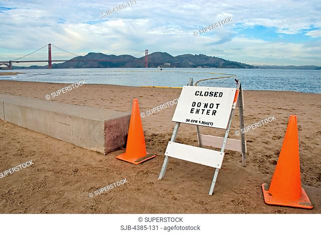 Beach Closed Due to Oil Spill