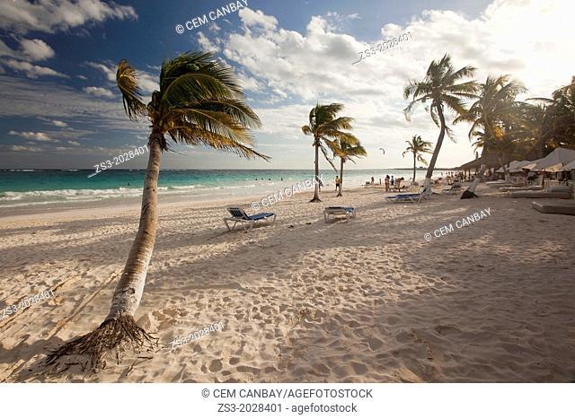 Windy afternoon at Tulum public beach, Tulum, Quintana Roo, Yucatan, Mexico