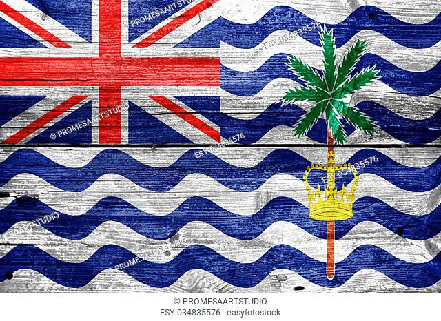Flag of British Indian Ocean Territory, painted on old wood plank background