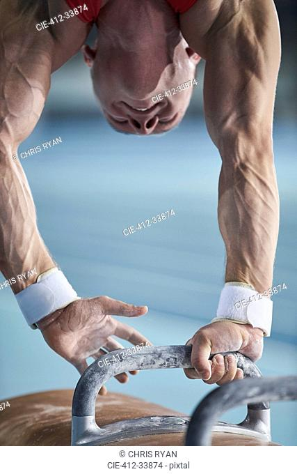 Male gymnast upside-down on pommel horse