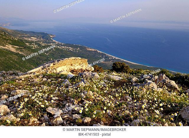 View from Llogara Pass, Palasa and Dhërmi, Albanian Riviera, Ionian Sea, Qark Vlorë, Albania