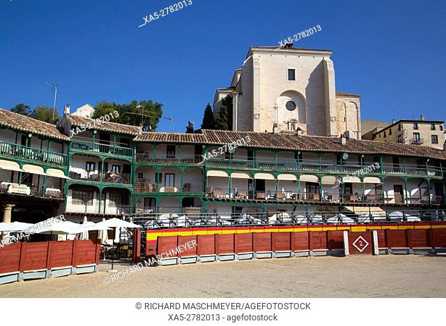 Plaza Mayor with Converted Bullring, Balconies, Church of Asuncion (background), Chinchon, Spain
