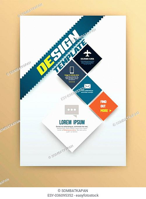 Vector brochure design template, flyer layout, magazine cover & poster template. Vector illustration. Can use for printing and web