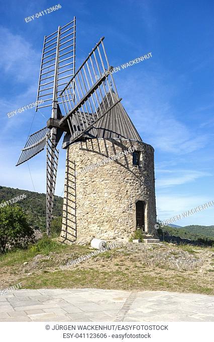 Windmill Moulin Saint Roche, Grimaud-Village, Var, Provence-Alpes-Cote d`Azur, France, Europe