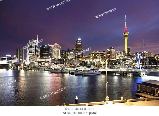 New Zealand, view to Auckland at evening twilight