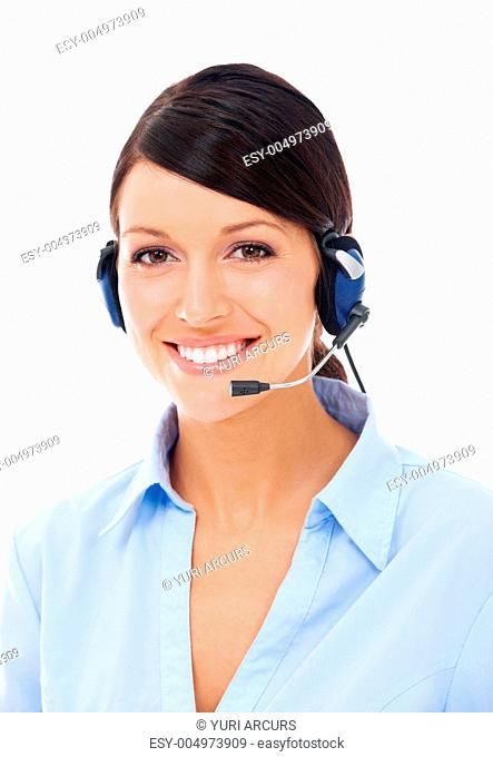Portrait of a pretty young call center worker wearing a headset