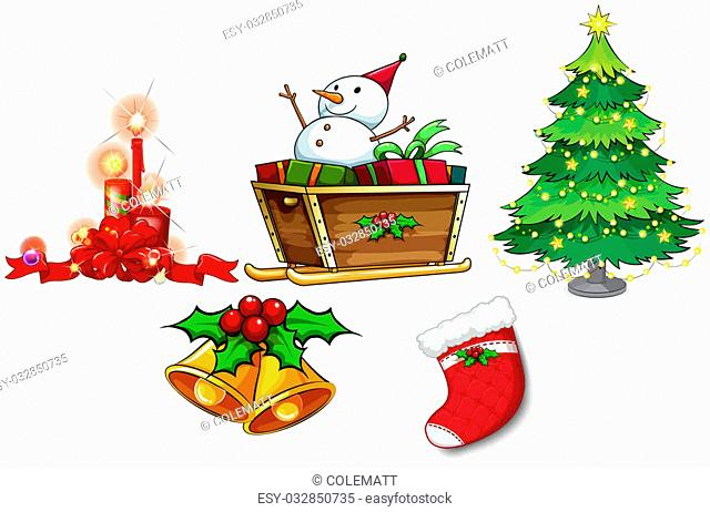 Illustration of the different symbols of christmas on a white background