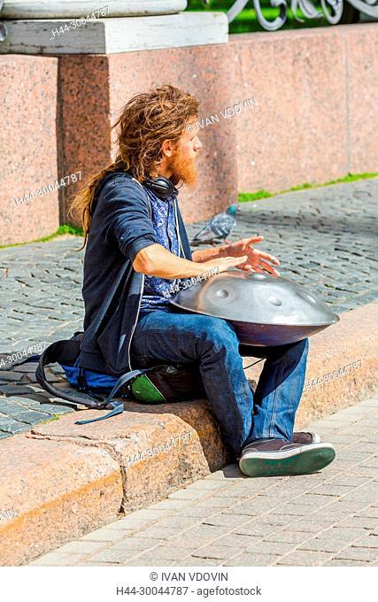 Street musician playing on hang, Saint Petersburg, Russia