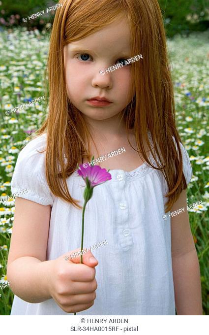 Girl picking flowers in field