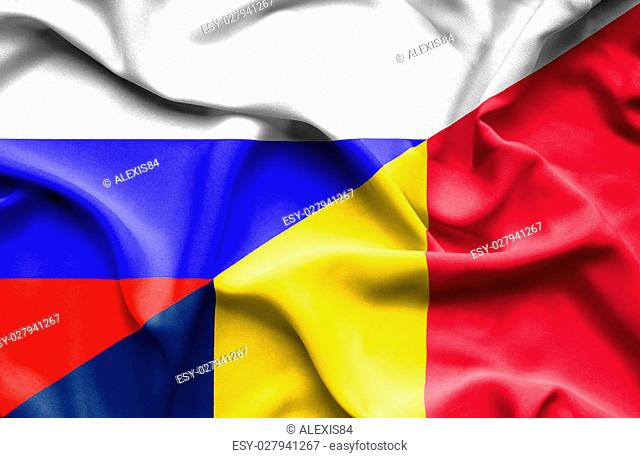 Waving flag of Chad and Russia