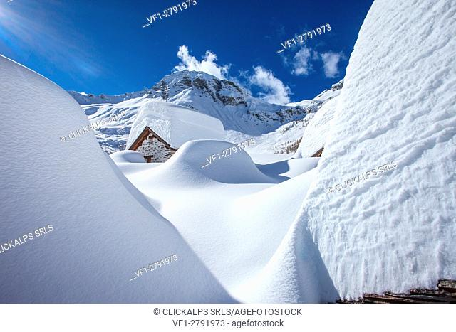 Chiavenna valley, snowy winter to Lendine alp, in the background Pizzaccio mountain, Lombardy, Italy