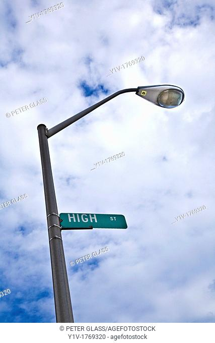 'High Street' sign on a lamp post