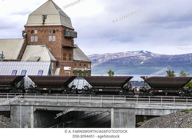 The so-called Malmbanan train that carries iron ore to Narvik, Norway from Kiruna passign over a bridge. Abisko, Sweden