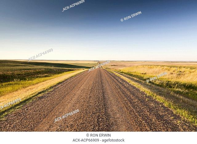 Gravel Road outside of the eastern block of Grasslands National Park near the village of Wood Mountain in southern Saskatchewan Canada