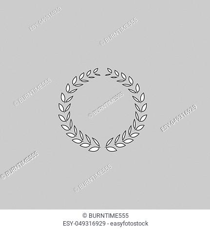 triumph wreath Simple line vector button. Thin line illustration icon. White outline symbol on grey background