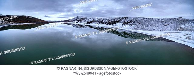 Lake Sandkluftavatn, Kaldidalur Valley, Central Highlands, Iceland. This image is shot using a drone
