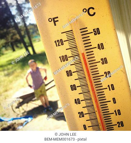 Close up of thermometer on hot summer day