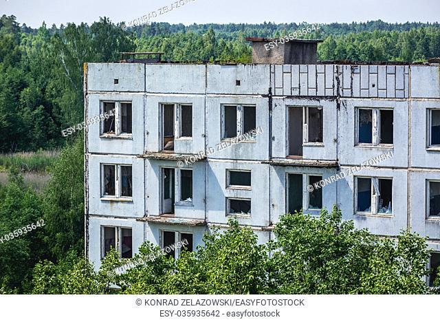 Hospital, former officers hotel in Skrunda-1 ghost town, former site of Soviet Dnepr radar station from Cold War period near Skrunda town in Latvia