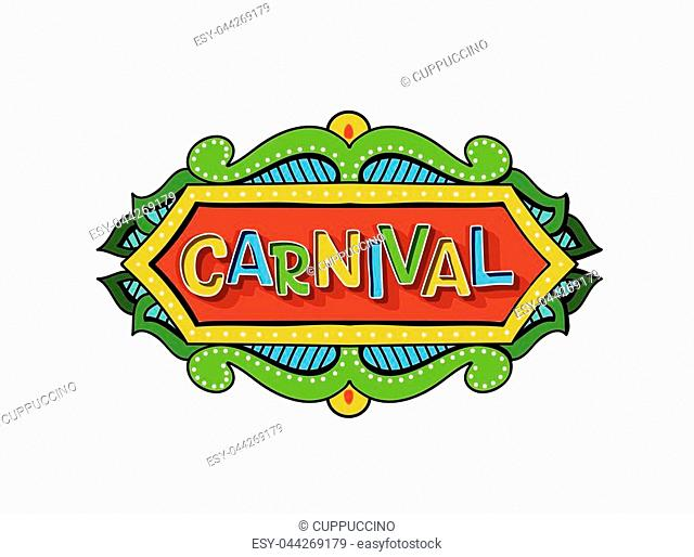 Popular Event Brazil Carnival Title With Colorful frame. Travel destination in South America During Summer. Vector logo for Carnival