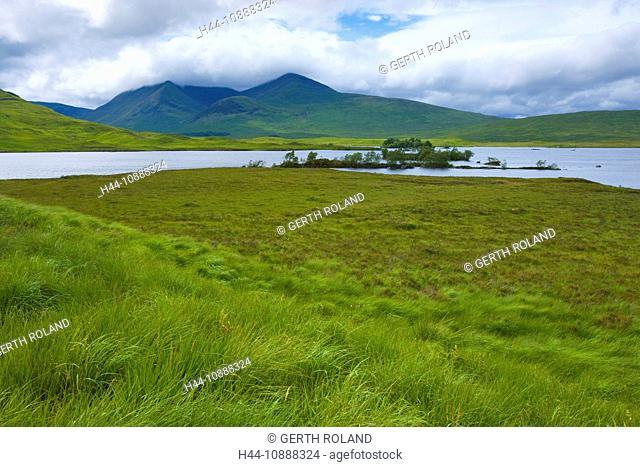 Rannoch moor, Great Britain, Scotland, Europe, sea, moor, trees, grass, clouds