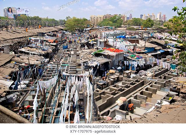 'Dhobi Ghat' in Bombay, India, is an open-air laundromat that caters to hospitals and hotels