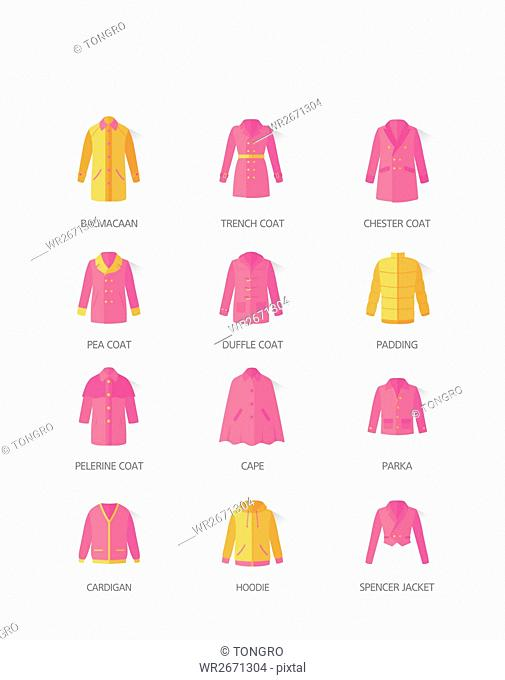 Icons of various coats and jackets