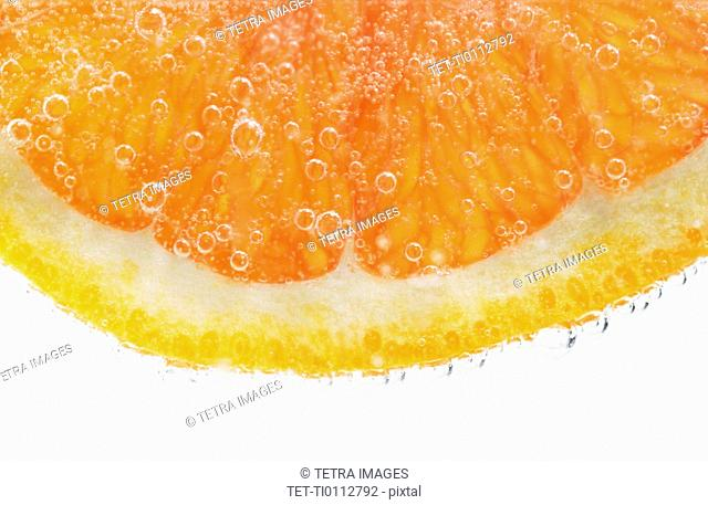 Extreme closeup of citrus fruit slice