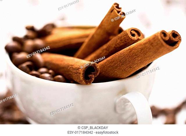 Cinnamon sticks and coffee beans