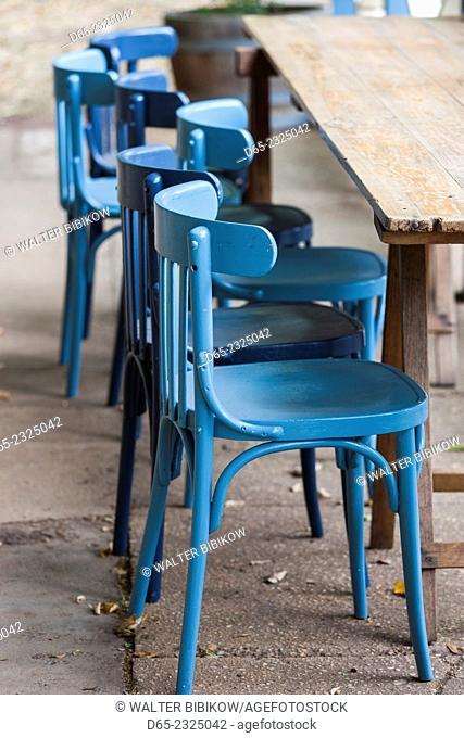 Australia, Victoria, VIC, Daylesford, cafe chairs