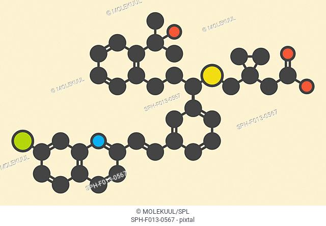 Montelukast asthma and airway allergy drug molecule. Stylized skeletal formula (chemical structure). Atoms are shown as color-coded circles: hydrogen (hidden)