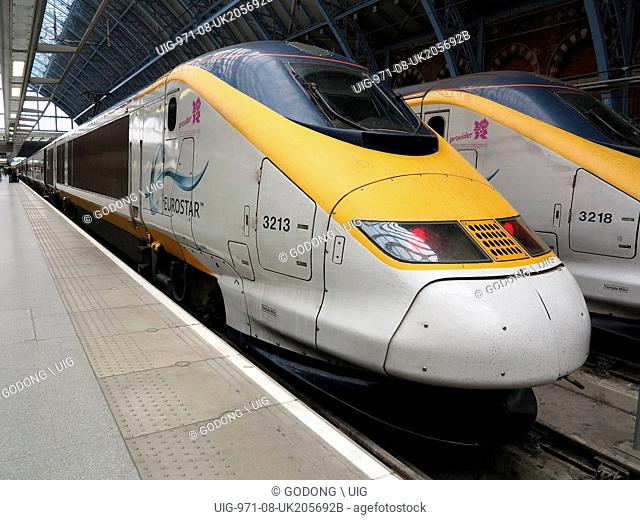 Eurostar trains in St Pancras's station