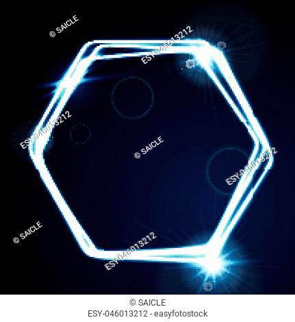 Glow blue neon bright hexagon shiny background. Energy effect logo vector template design