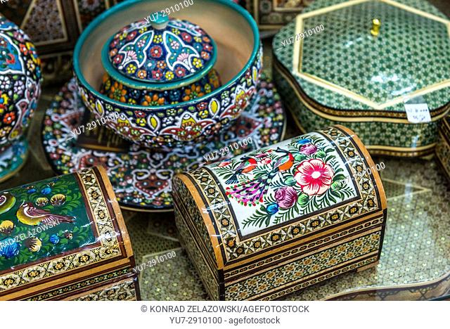Persian decorative boxes for sale in shop in Shiraz city, capital of Fars Province in Iran