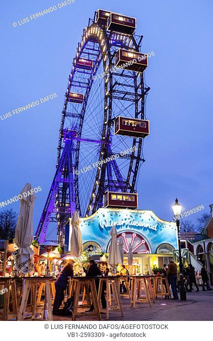 Wiener Riesenrad giant ferris wheel at the Prater amusement park, Vienna, Austria