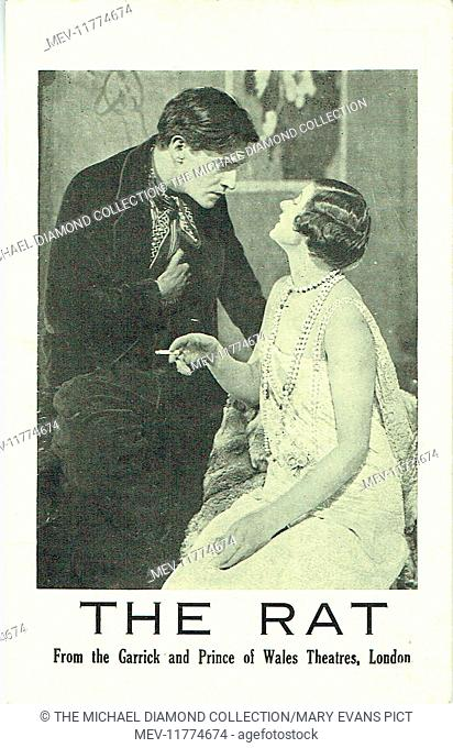 Promotional postcard for The Rat by David L'Estrange (= Constance Collier and Ivor Novello). First produced at the Royal Artillery Theatre, Woolwich