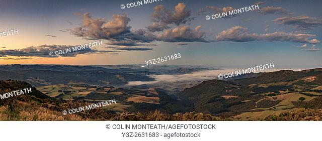 Waitati valley at dusk, panorama from Mt Cargill, near Dunedin, Otago