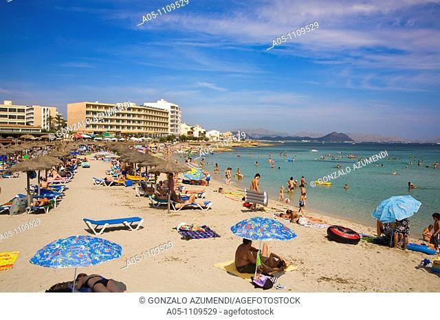 Son Baulo beach, Bay of Alcudia, Majorca, Balearic Islands, Spain