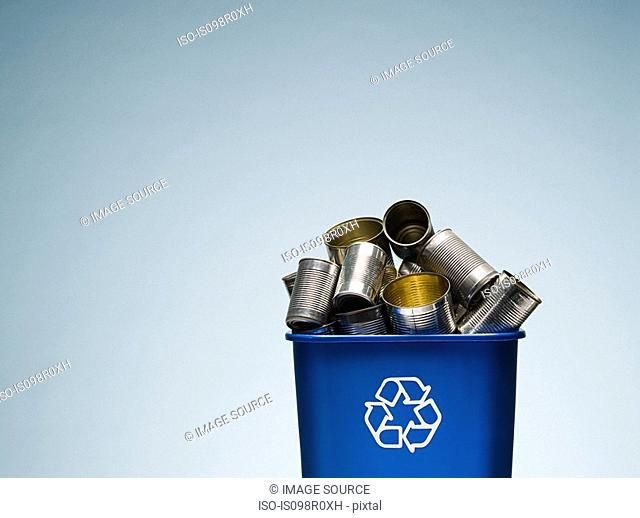 Tin cans in a recycling bin