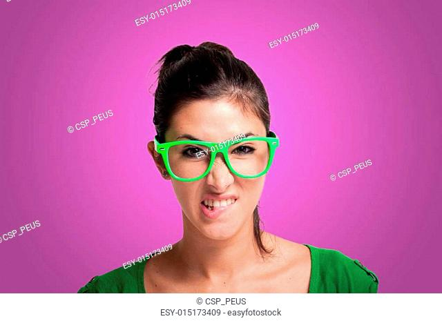 sexy girl with green eyeglasses