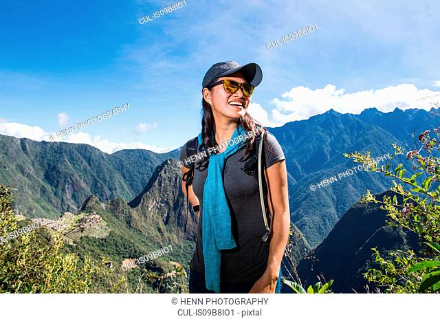 Woman on the Inca Trail close to Machu Picchu, Cusco, Peru