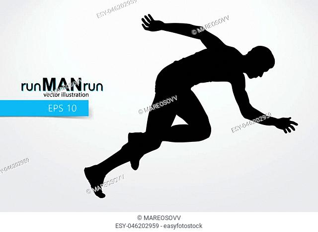 Silhouette of a running man. Text and background on a separate layer, color can be changed in one click