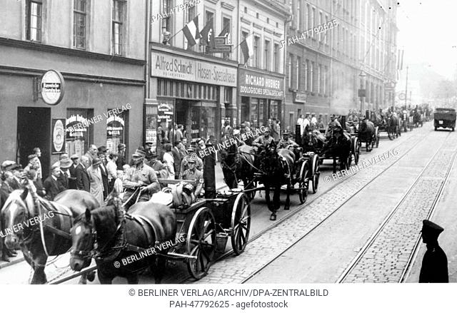 Nuremberg Rally 1933 in Nuremberg, Germany - Members of the SA (Sturmabteilung) march through the streets of Nuremberg with field kitchens