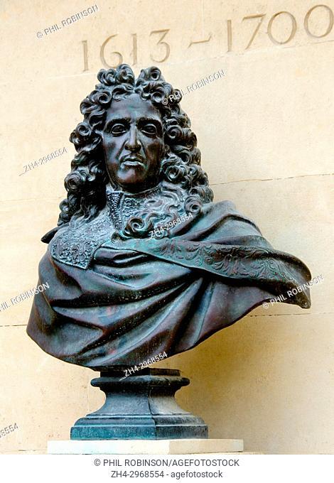Paris, France. Jardin des Tuileries: bust of Andre le Notre (/Nostre) landscape architect and gardener to King Louis XIV