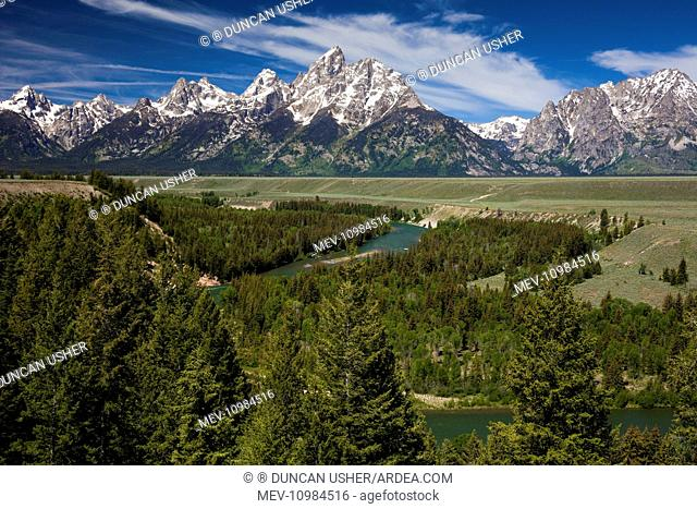 Grand Teton Mountain Range - at Snake River Overlook Grand Teton National Park, Wyoming, USA