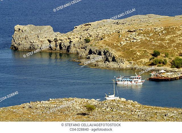 Lindos bay. Rhodes Island, Dodecanese. Greece