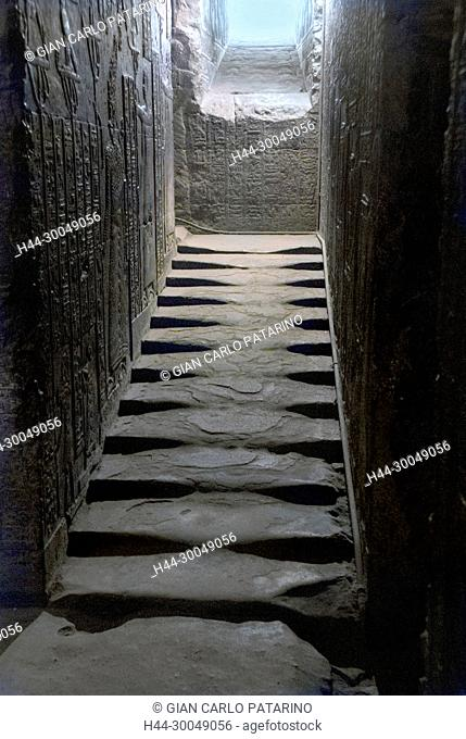 Egypt,Dendera,Ptolemaic temple of the goddess Hathor.View of interior stairs
