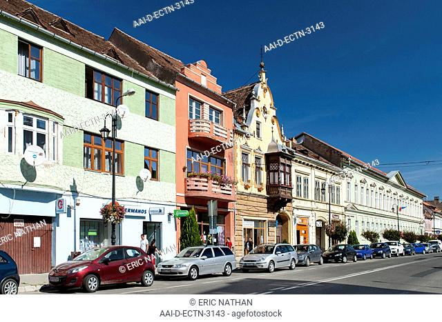 Morii Street in the town of Sighi?oara in the Transylvania region of central Romania
